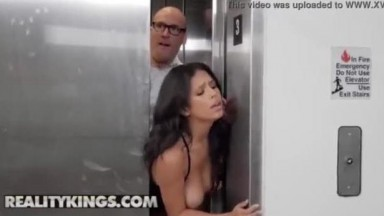 Sneaky Sex in the elevator Autumn Falls is going down